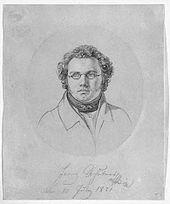 Schubert am 10. Juli 1821, Porträtzeichnung von Leopold Kupelwieser (Quelle: Wikimedia)