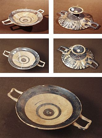 Conservation and restoration of ceramic objects - Kylix before and after conservation - restoration.