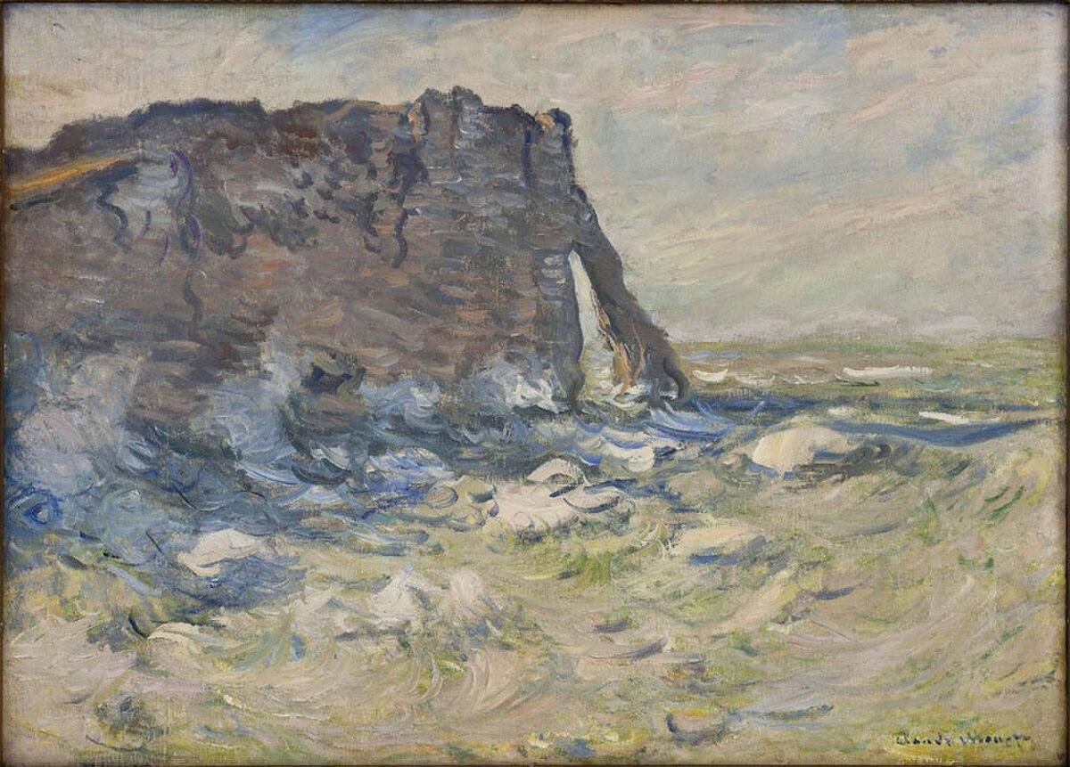 Falaise et Porte d'Aval par gros temps - Claude Monet - Crotos