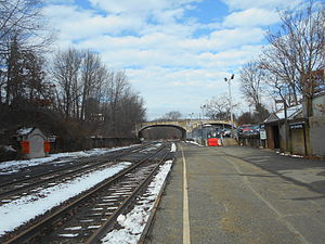 Lake Hopatcong station - Lake Hopatcong station in December 2014, looking north toward Bridge 44.53.
