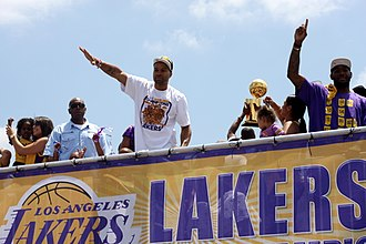 2010 NBA Finals - Derek Fisher during the victory parade.