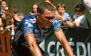 Lance Armstrong - Armstrong finishing third in Sète, taking over the Yellow Jersey at Grand Prix Midi Libre.