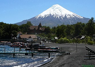 Volcanic cone - Osorno volcano in Chile is an example of a well-developed stratocone.