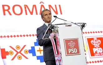 2014 Romanian presidential election - Moldovan Prime Minister Iurie Leancă expressing his support for Victor Ponta at the launching of Ponta's campaign on the National Arena, Bucharest
