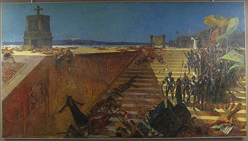 """The Last Days of Tenochtitlan, Conquest of Mexico by Cortez"", a 19th-century painting by William de Leftwich Dodge. LastDaysofTenochtitlanB.jpg"