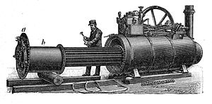 Launch-type boiler - German semi-portable engine, with boiler firebox withdrawn for servicing