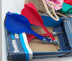 Lawn darts - A package of lawn darts with metal tips.