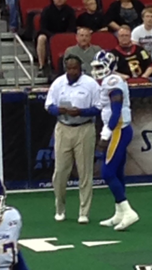 Lawrence Samuels - Samuels with Adrian McPherson during a 2013 game.