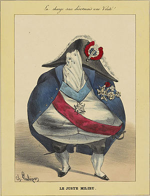 Juste milieu - Cartoon by Charles Philipon circa 1830 representing the philosophy as an empty suit of clothes.
