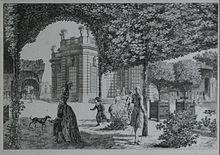 Marie-Antoinette se promenant dans le Jardin français, à proximité du Pavillon français et du Petit Théâtre