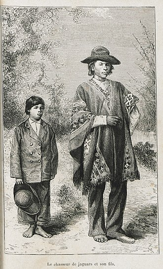 Cultural imperialism - A jaguar hunter and his son, natives of the Chaco Boreal. The father continues to wear the traditional clothing of his region while the son has already adopted Western clothing.