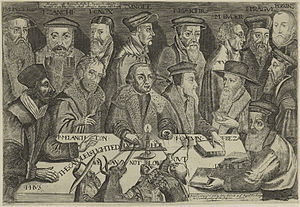 History of Calvinism - This 17th century engraving includes Reformed theologians Theodore Beza, Martin Bucer, Heinrich Bullinger, John Calvin, John Knox, William Perkins, Peter Martyr Vermigli, Girolamo Zanchi, Johannes Oecolampadius and Ulrich Zwingli gathered around Martin Luther with a candle representing the Gospel. The pope, a cardinal, a monk, and a demon try to blow the candle out.