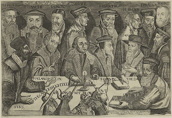 This 17th century engraving includes Reformed theologians Theodore Beza, Martin Bucer, Heinrich Bullinger, John Calvin, John Knox, William Perkins, Peter Martyr Vermigli, Girolamo Zanchi, Johannes Oecolampadius and Ulrich Zwingli gathered around Martin Luther with a candle representing the Gospel. The pope, a cardinal, a monk, and a demon try to blow the candle out. Leading Theologians of the Middle Ages.jpg