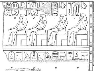 """Mentuhotep I - Karnak king list showing the partial name """"Men..."""" in a cartouche (No. 12)."""