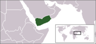 A map showing the location of Yemen