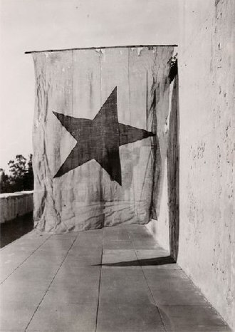 Californio - A survivor of the Revolution of 1836, this is the last Red Lone Star Flag, the Oriflamme of the Californios.