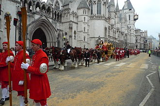 Lord Mayor of London - The Doggett's Coat & Badgemen, State Coach and Company of Pikemen and Musketeers of the Honourable Artillery Company) awaiting the Lord Mayor outside the Royal Courts of Justice on 12 November 2011