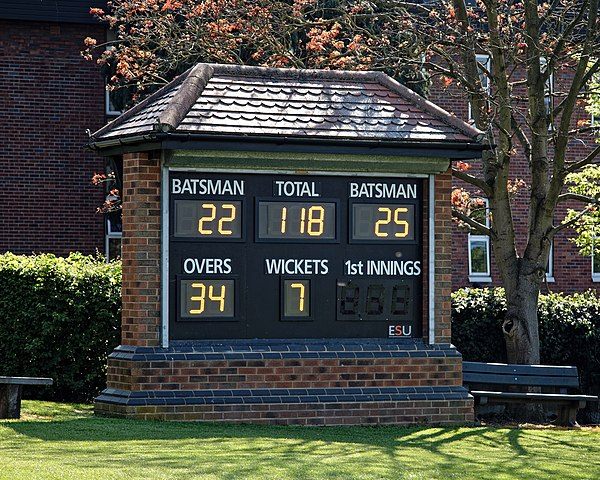 A scoreboard showing the total runs scored and wickets lost Loughton Cricket Club ground scoreboard at Loughton, Essex, England.jpg