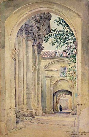 Louis Monzies - Villeneuve Lez Avignon, watercolor.