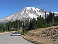 Lower parking lot at Paradise looking towards Ski Dorm and mountain. Possibly autumn. (2c0164407fea458c92c5c9b6c2e9f2e1).JPG