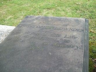 Christopher Lowndes - Grave of Christopher Lowndes, September 2009