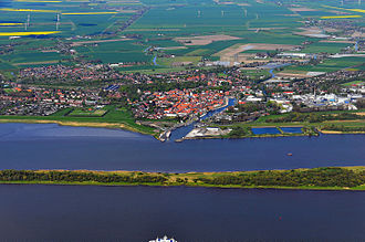 Glückstadt - Aerial view across the Lower Elbe