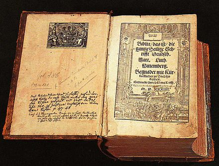 An early German translation by Martin Luther. His translation of the text into the vernacular was highly influential. Lutherbibel.jpg