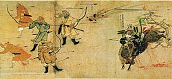 Painting of a medieval battle scene between warriors on horseback
