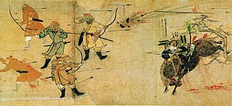 History of East Asia - A Mongol bomb thrown against a charging Japanese samurai during the Mongol invasions of Japan, 1281.