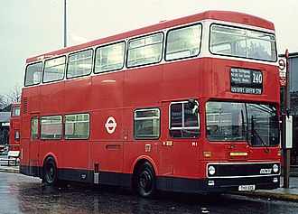 London Buses route 240 - MCW Metrobus at Golders Green station in January 1981