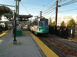 Riverside (MBTA station) - Green Line trains at Riverside in October 2011