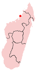 Location of Andoany in Madagascar