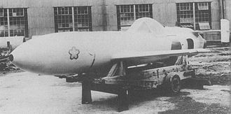 Yokosuka MXY-7 Ohka - Thermojet powered Model 22, note the jet intake on the side just forward of the tail.