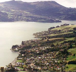 Macandrew Bay - The Otago Harbour as seen from the ridge which runs along the top of the Otago Peninsula. The settlements of Company Bay (upper middle of picture) and Macandrew Bay (bottom of picture) are both shown.