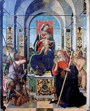 Antonio Aleotti - Madonna in trono con il Bambino, Sant'Antonio Abate e l'Arcangelo Michele di Antonio Aleotti, 1510 (Pinacoteca Comunale di Cesena)