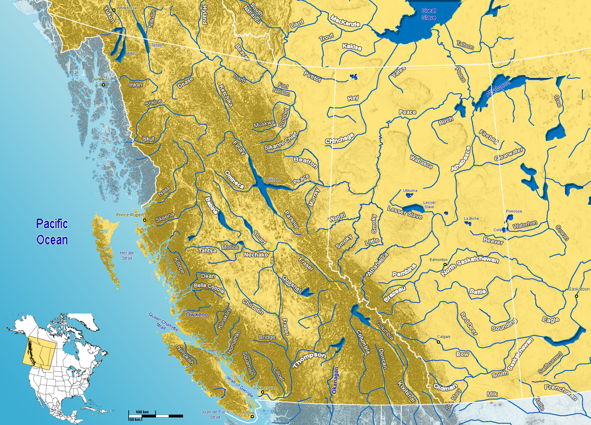 Map Of Western Canada Rivers File:Major Rivers in West Canada.png   Wikimedia Commons