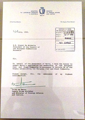 Guido de Marco - Letter of application for membership of the European Economic Community by Malta, 1990. Sent from the Maltese foreign affairs minister Guido de Marco to the Italian foreign affairs ministers Gianni De Michelis, at the time holding the rotating presidency of the EU Council. Held at the House of European History in Brussels