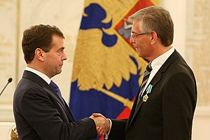 Order of Friendship - Manfred Schmidt, Head of the Department for Crisis Management of the German Interior Ministry, being decorated with the Order of Friendship by Russian President Dmitry Medvedev on 13 October 2010 at the Moscow Kremlin. (Photo www.kremlin.ru)