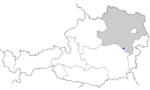 Map of Austria, position of Semmering highlighted