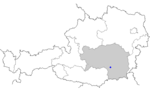 Map of Austria, position of Voitsberg highlighted