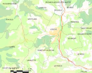 Lodève - Map
