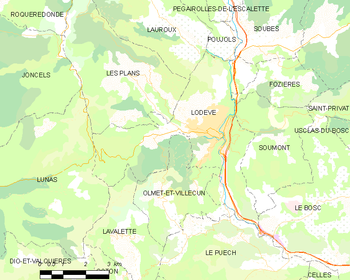 Map of the commune of Lodève
