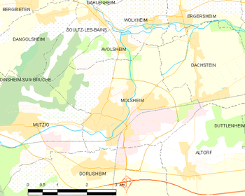 Map of the commune of Molsheimu