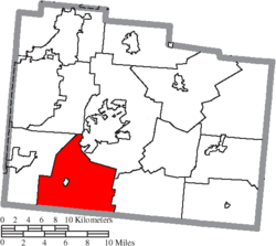 Location of Spring Valley Township in Greene County