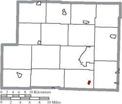 Location of New Athens in Harrison County