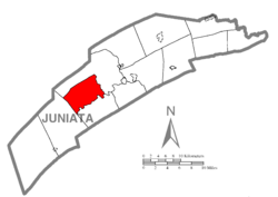 Map of Juniata County, Pennsylvania highlighting Beale Township