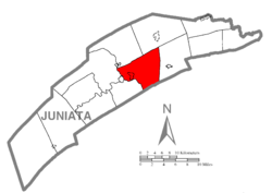 Map of Juniata County, Pennsylvania highlighting Walker Township