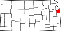 Map of Kansas highlighting Johnson County