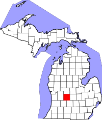 Kart over Michigan med Ionia County uthevet