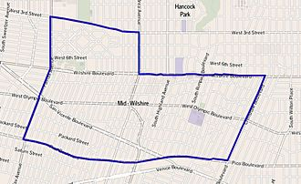 Mid-Wilshire, Los Angeles - Map of Mid-Wilshire, Los Angeles. (as delineated by the Los Angeles Times)